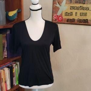 Topshop Black T- Shirt Size 4